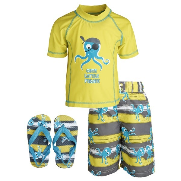 Wippette Baby Boys' 'Cute Little Pirate' Rashguard Shirt/ Swim Trunks with Flip Flops Set