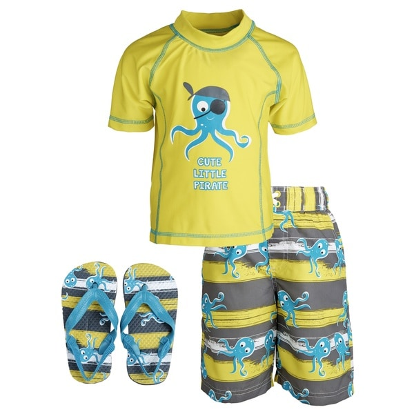 Wippette Little Boys' 'Cute Little Pirate' Rashguard Shirt/ Swim Trunks with Flip Flops Set