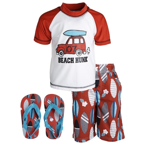 Wippette Baby Boys' 'Beach Hunk' Rashguard Shirt/ Swim Trunks with Flip Flops Set