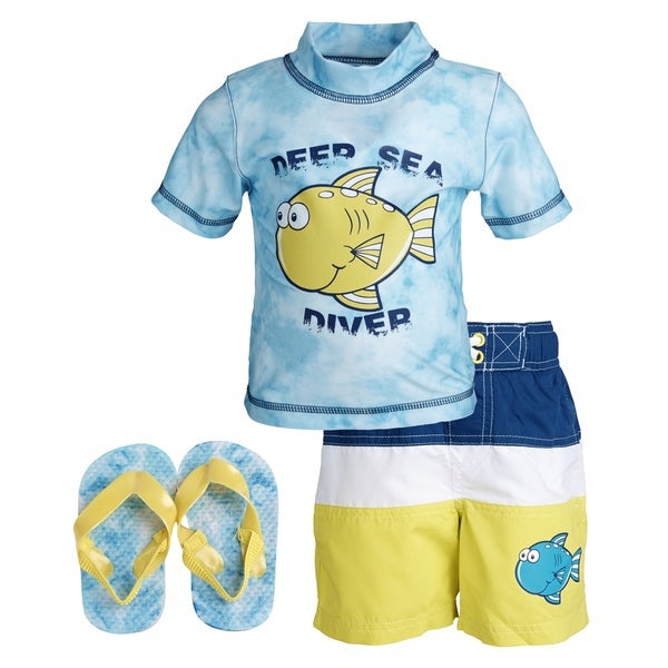 Wippette Little Boys' 'Deep Sea Diver' Rashguard Shirt/ Swim Trunks with Flip Flops Set