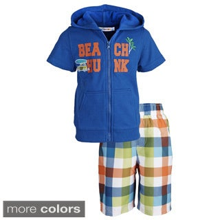 Wippette Little Boys' 'Beach Hunk' Plaid Swim Trunk/ Hooded Knit Cover-up Set