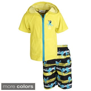 Wippette Little Boys' 'Cute Little Pirate' Printed Fish Swim Trunk/ Hooded Terry Cover-up Set