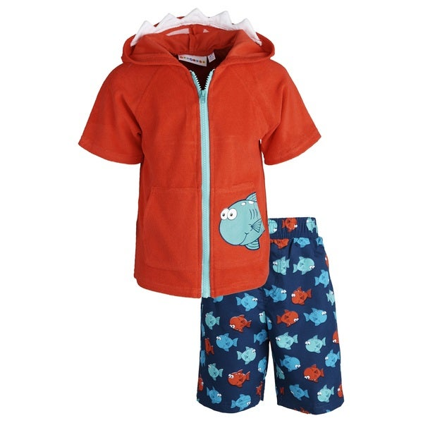 Wippette Little Boys' Printed Fish Swim Trunk/ Hooded Terry Cover-up Set