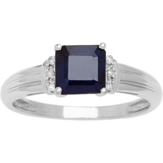 Viducci 10k White Gold Genuine Sapphire and Diamond 1/8 TDW Accent Ring
