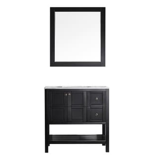 """Florence 36"""" Single Vanity in Espresso with Carrara White Marble Top with Mirror"""
