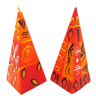 Set of Two Hand-Painted Zahabu Design Nobunto Pyramid Candles (South Africa)