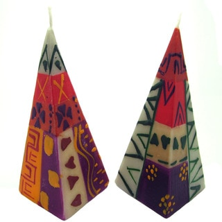 Set of Two Hand-Painted Pyramid Candles - Indaeuko Design - Nobunto Candles (South Africa)