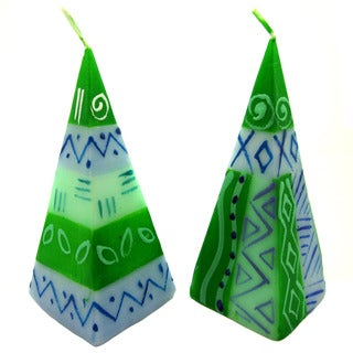 Set of Two Hand-Painted Pyramid Candles - Farih Design - Nobunto Candles (South Africa)