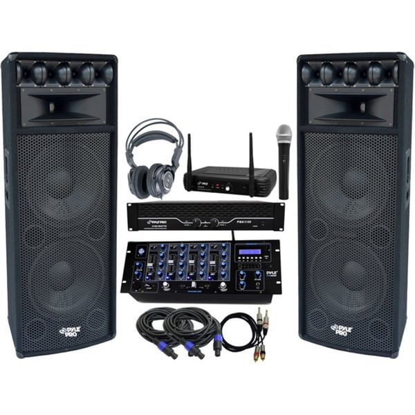 Pyle KTHSP460 3200W DJ Bluetooth System with 12-inch 7-way Speakers/ Amplifier/ Mixer/ Wireless Microphone/ Headphones/ Cables