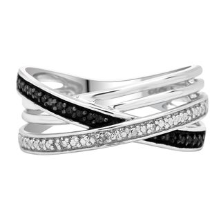 Sterling Silver 1/10ct TDW Black and White Diamond Multi-band Ring
