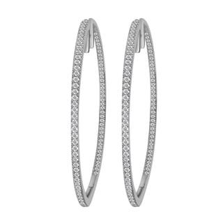 14k White Gold 1ct TDW Diamond Hoop Earrings (H-I, I1-I2)