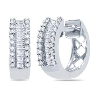 10k White Gold 1/4ct TDW Round and Baguette Diamond Hoop Earrings (H-I , I1-I2)