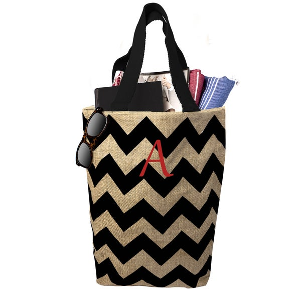 Personalized Natural Black Chevron Jute Market Tote
