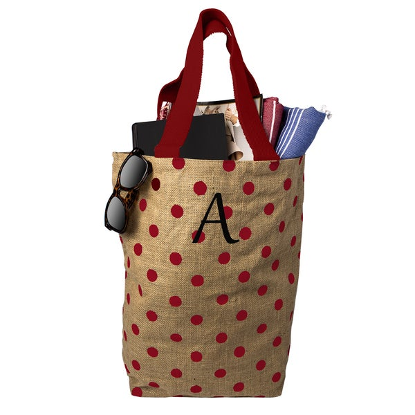 Personalized Red Polka Dot Natural Jute Market Tote