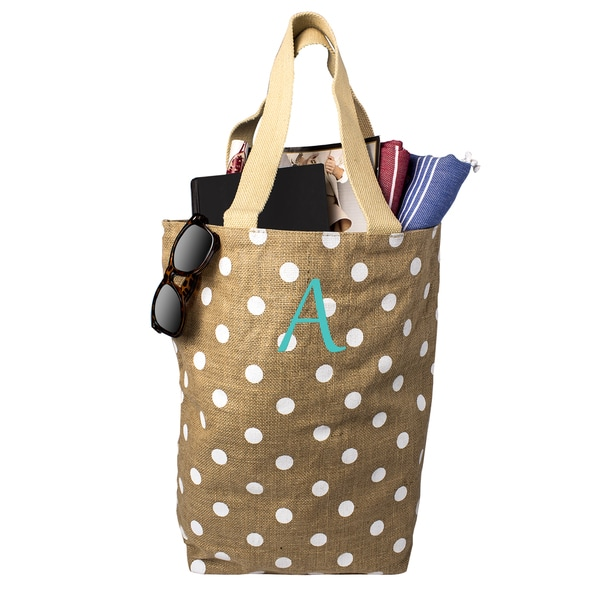 Personalized White Polka Dot Natural Jute Market Tote