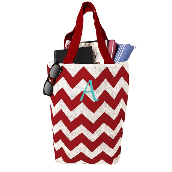 Personalized Parchment Red Chevron Jute Market Tote