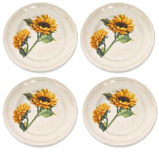 Lorren Home Trends Italian-made Sunflower Dinner Plates (Set of 4)