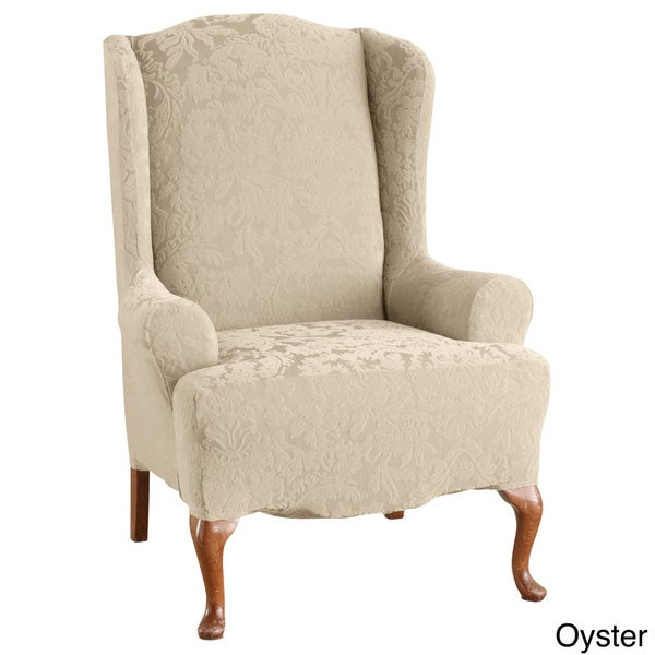 sure fit stretch jacquard damask wing chair slipcover 17409932
