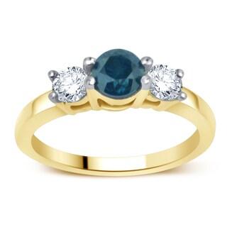 14k Yellow Gold 1ct TDW Blue and White Diamond 3-stone Anniversary Ring (H-I, I1-I2)