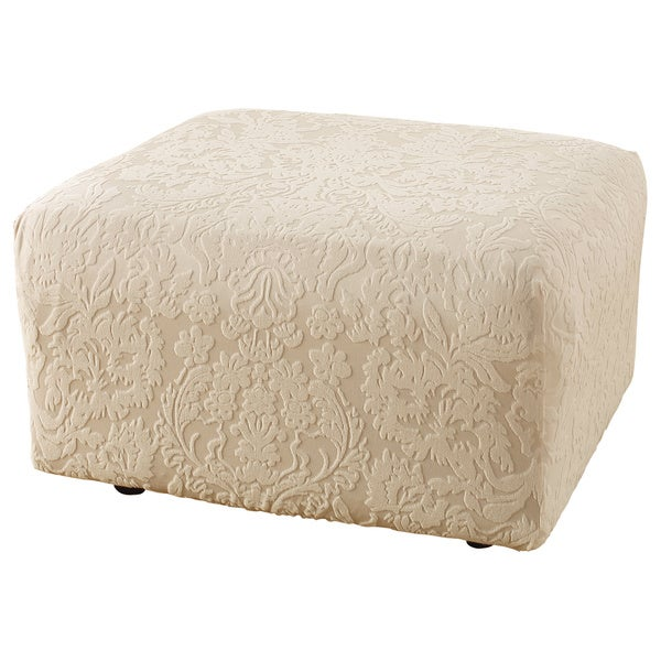 Sure Fit Stretch Jacquard Damask Ottoman Slipcover In Oyster (As Is Item)