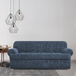 Sure Fit Stretch Jacquard Damask Two-piece T Cushion Sofa Slipcover