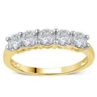 10k Yellow Gold 1ct TDW Diamond 5-stone Wedding Band (I-J, I2-I3)