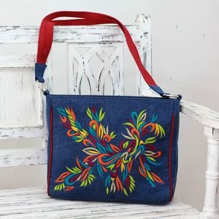 Handcrafted Cotton 'Happy Holi' Shoulder Bag (India)