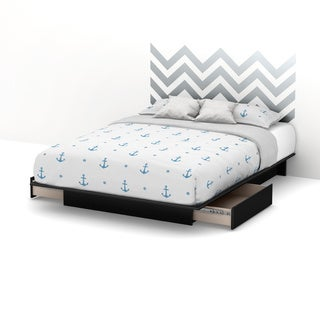 South Shore Step One Queen Storage Platform Bed with Gray Chevron Headboard Ottograff Wall Decal