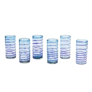 Set of 6 Blown Glass 'Light Blue Cobalt Spiral' Tumblers (Mexico)