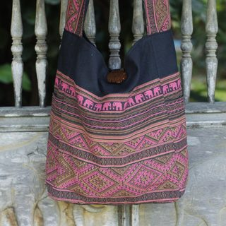 Handcrafted Cotton 'Red Elephant Shadow' Sling Bag (Thailand)