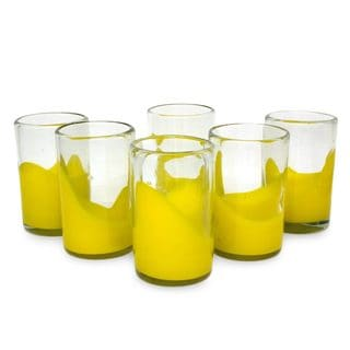 Set of 6 Blown Glass 'Yellow Splash' Juice Glasses (Mexico)