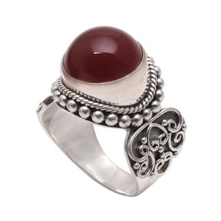Handmade Sterling Silver 'Incandescent Moon' Carnelian Ring (Indonesia)