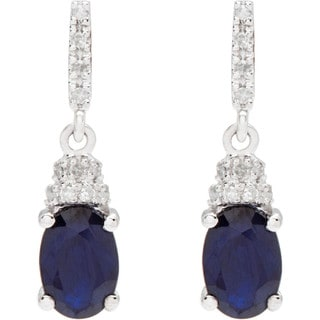 Viducci 10k White Gold Oval Gemstone and 1/8ct TDW Diamond Drop Earrings (G-H, I1-I2)