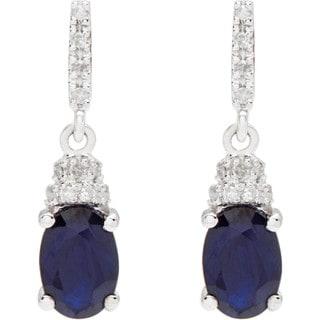 Viducci 10k White Gold Oval Gemstone and 1/8ct TDW Diamond Drop Earrings (G-H, I1-I2)