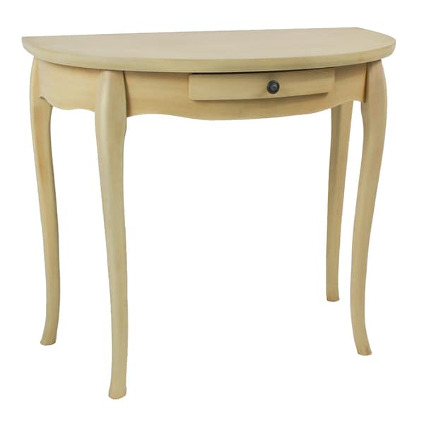 Ashbury Shabby Chic Antique Cream Wood Veneer Half-moon One-drawer Wall Table