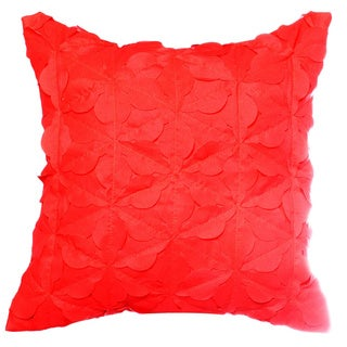 Teen Vogue Folksy Floral Red Ruffled Decorative Pillow