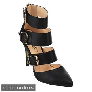 Wild Rose 'Savy-01' Women's Ankle Strap Pointed Toe Stiletto Heel