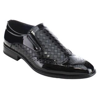 UV SIGNATURE UV005 Men's Side Gores Like Wing Tip Perforated Detailing Slip On Loafer