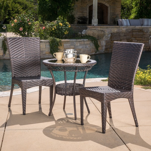 Christopher Knight Home Josh Outdoor Multi-Brown Wicker Bistro Set