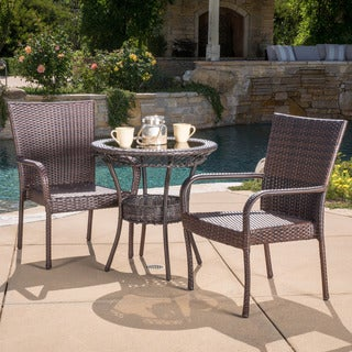 Christopher Knight Home Littleton Outdoor Multi-Brown Wicker Bistro Set