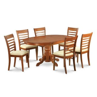 7-piece Dining Room Set-oval Dinette Table with Leaf and 6 Dining Chairs