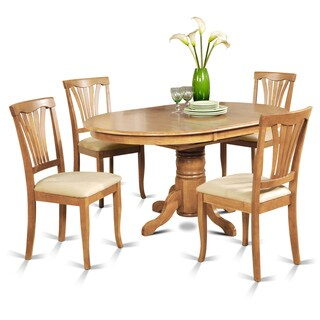 5-piece Oval Dining Table with Leaf and 4 Dining Chairs in Oak