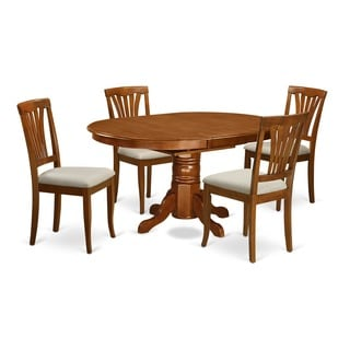 5-piece Oval Dinette Table with Leaf and 4 Dining Chairs