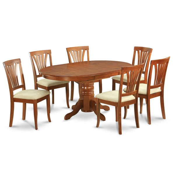Piece Oval Dining Room Table With Leaf And 6 Dining Chairs