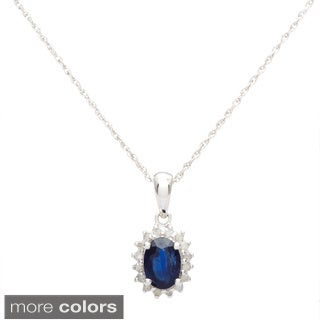 Viducci 10k White Gold Gemstone and 1/6ct TDW Diamond Necklace (G-H, I1-I2)