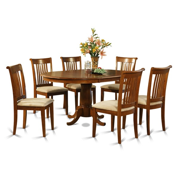 7 piece oval dining table with leaf and 6 dining chairs