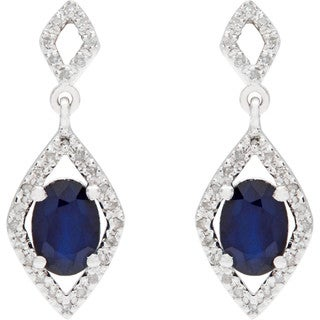 Viducci 10k White Gold Oval Gemstone and 1/3ct TDW Diamond Earrings (G-H, I1-I2)