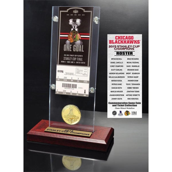 Chicago Blackhawks 2015 Stanley Cup Champions Ticket and Bronze Coin Acrylic Desk Top 15688489