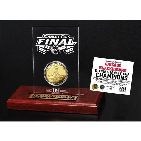 Chicago Blackhawks 2015 Stanley Cup Champions Etched Display Gold Mint Coin 15688490