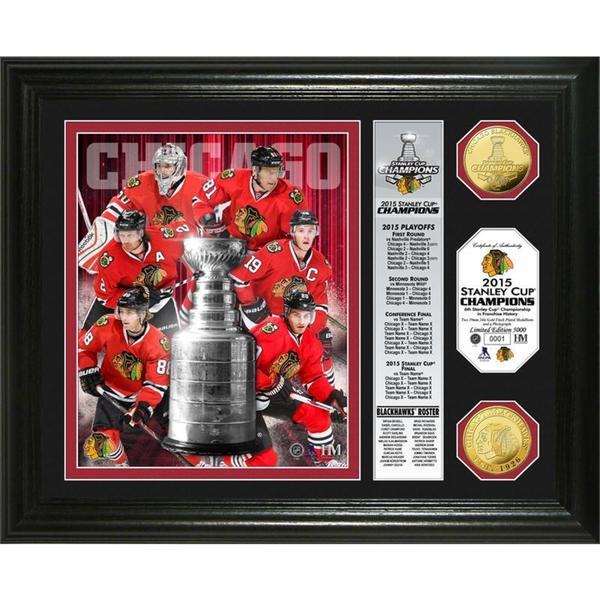 Chicago Blackhawks 2015 Stanley Cup Champions 'Banner' Gold Coin Photo Mint 15688491